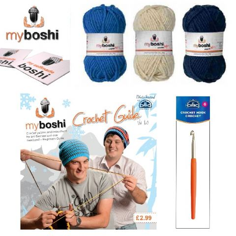 Blue - Make Your Own Crochet Myboshi Beanies Hat Kit (Colours 171 155 153)